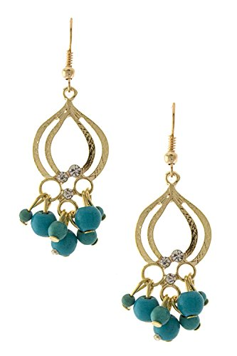 Trendy Fashion Jewelry Fancy Turquoise Dangling Drop Earring By Fashion Destination | (Gold) front-577058