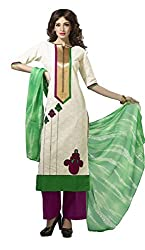 Adaa Women's Cotton Unstitched Dress Material (HS-VD-0651-B_Cream_Free Size)