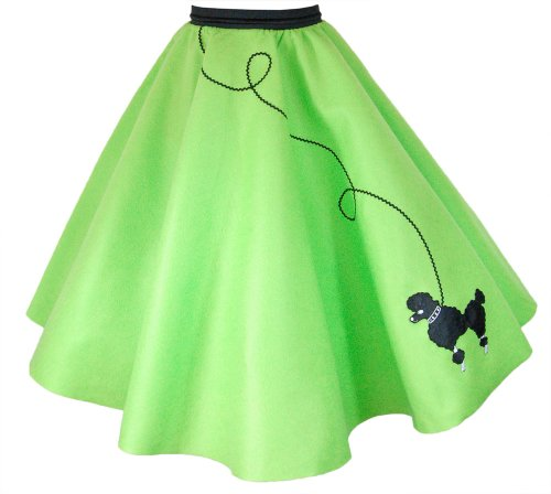 Hip Hop 50S Shop 4 Piece Child Poodle Skirt Outfit - Size Large Child Lime Green