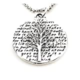 Kevin N Anna Studio California Sterling Silver LARGE Pendant Necklace with Round Etched Tree of Life Pendant Celebrates LIFE