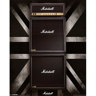 Marshall Amps Stack Music Poster Print - 16X20 Custom Fit With Richandframous Black 16 Inch Poster Hangers