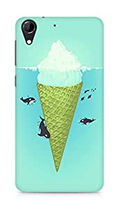 Amez designer printed 3d premium high quality back case cover for HTC Desire 728 (Whale green sea icecream iceberg)