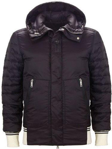 Moschino Men's Hooded Zip Down Jacket Navy Blue (XX-Large)