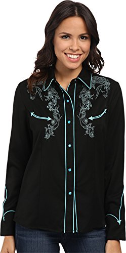 Scully PL-856-TUR-XXL Western Womens Tan Polyester L-S Horse Western Shirt, Turquoise - 2X-Large