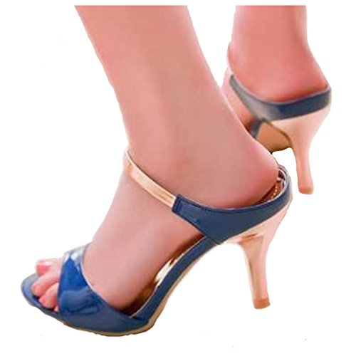 High-Heeled Shoes Open Toe Woman'S For Women High Quality Blue Size 12 front-47212