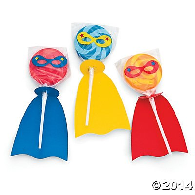 Fun Express - Superhero Swirl Lollipop Set - Makes 12 Pops