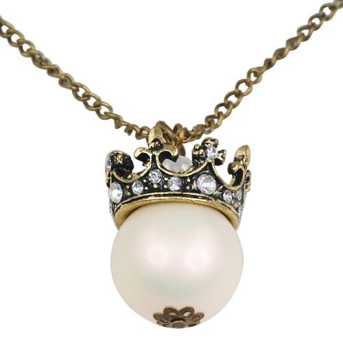 Fashion Vintage Pearl Set Crown Pendant Long Chain Necklace