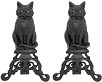 Uniflame Black Cast Iron Cat andirons wi...