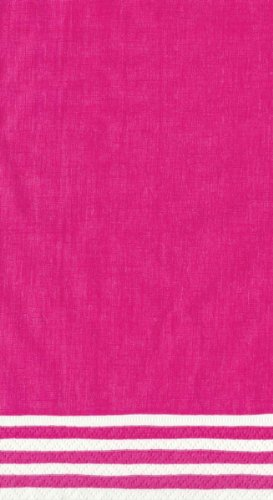 Entertaining with Caspari Set of 2 Stripe Border Guest Towels, 30 Towels, Fuchsia