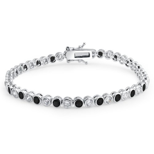 Bling Jewelry .925 Sterling Silver Tennis Bracelet Black and White Bezel Set CZ