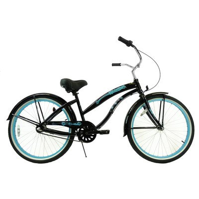Women's 3-Speed Aluminum Beach Cruiser Frame Color: Black with Baby Blue Wheels