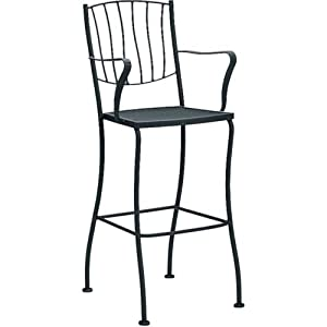 Aurora Stationary Bar Stool - Arm Finish: Textured Black