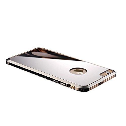 全8色 iphone6sバンパー アルミ 背面 軽量 ポップエナジー(Pop Energy)アイフォン6s plus ケース 金属 フレーム 二重構造 アルミバンパー+鏡面ミラーキラキラ光るバックプレート付き アルミ製メタルバンパー(IPhone6/6s, ブラック)