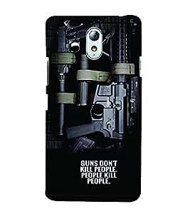 PrintVisa Gun Quotes 3D Hard Polycarbonate Designer Back Case Cover for Lenovo Vibe P1M