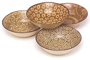 Japanese Stoneware Shallow Bowls Set Includes 4 Bowls Each with a Different Design, Sepia