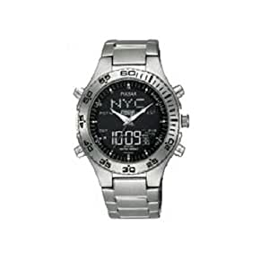 Pulsar by Seiko LCD Dial Dual Time Gents Bracelet Watch PM7013