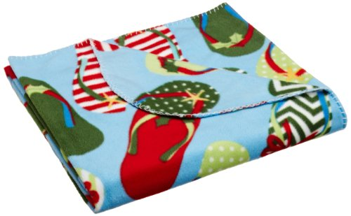 DII Coastal Christmas Holiday Flip Flop Fleece Blanket, 50 by 60-Inch