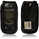 Turtleback Black Leather Case for Samsung Convoy 3 U680 Flip Phone Case with Rotating Belt Clip - Made in USA