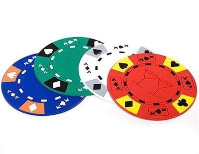 4 Poker Chip Coasters / Untersetzer für Gläser und Flaschen. Absolut rutschfest!