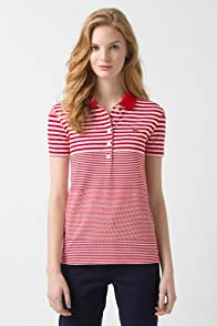 Short Sleeve Stretch Pique Graded Stripe Polo