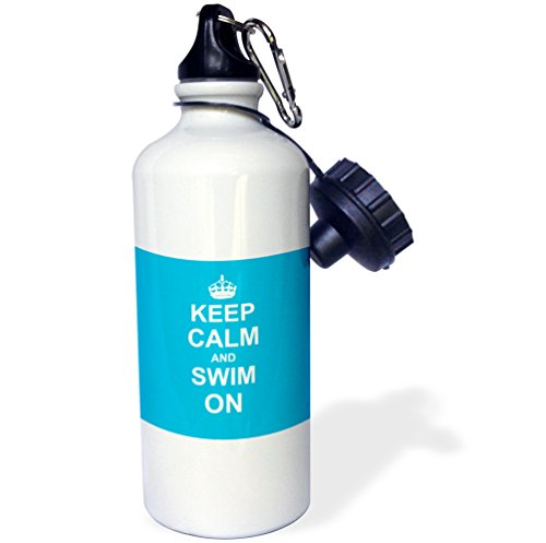 3drose-WB-157778---------1-Keep-Calm-and-Carry-et-bain-on-blue-Transporter-sur-swimming-hobby-ou-Pro-Natation-gifts-pool-Fun-Funny-Humour-Sport-bouteille-deau-21-ml-Blanc
