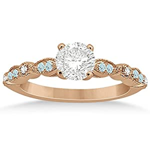 Marquise and Dot Aquamarine and Diamond Side-Stone Engagement Ring in 14k Rose Gold 0.24ct