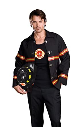Dreamgirl Mens Smoking Hot Fireman Costume, Black/Red, Medium