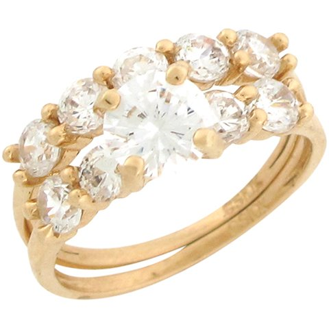 14ct Yellow Gold White CZ Beautiful Wedding Engagement Duo Rings