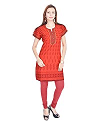 Kaba Women's Cotton Straight Kurta (KB41L-RED_X-Large, Red, X-Large)