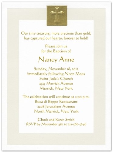 Gold Foil Cross And Pearl Border Baptism Christening Invitations - Set Of 20 front-1056264