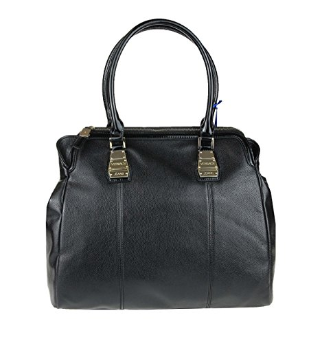 Versace Jeans Couture Tasche Handtasche Schultertasche Businesstasche Umhängetasche Bowlingtasche Bag (Schwarz)