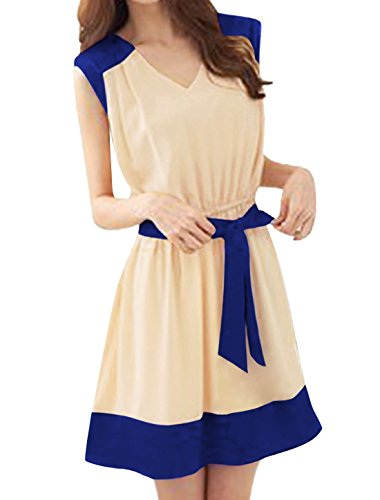 Allegra K Woman V Neck Elastic Waist Self Tie Strap Two Tone Casual Dress