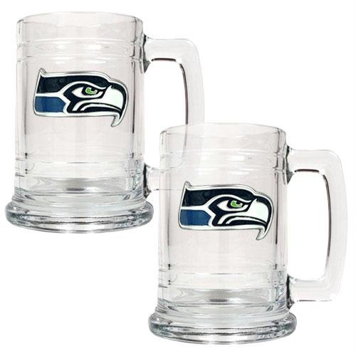 NFL Seattle Seahawks Two Piece 15-Ounce Glass Tankard Set - Primary Logo at Amazon.com