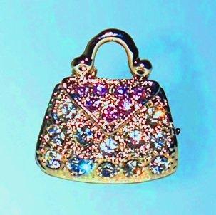 Purse Pin Swarovski Crystals White Lavender Purple Handbag Brooch Bag Antique...
