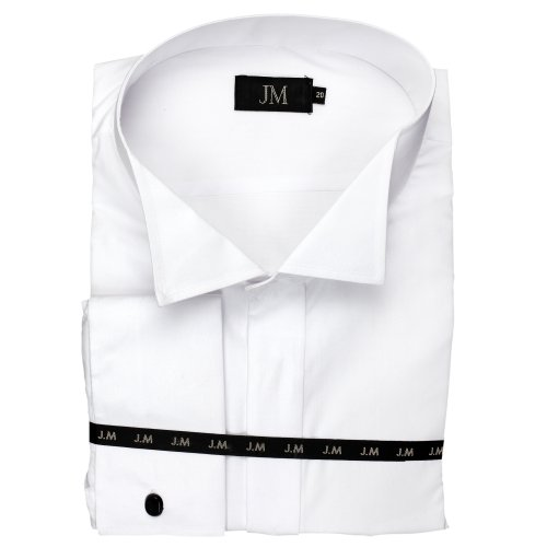 Men's White Victorian Collar Formal Dress Shirt With Double Cuff, Sizes 14