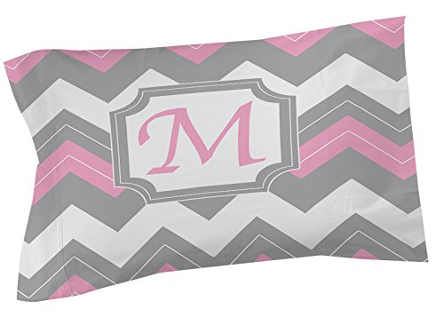 Thumbprintz Pillow Sham, King, Monogrammed Letter M, Pink Chevron front-470339