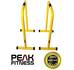 Peak Fitness Yellow Dip Bars, Gymnastic Bars for Dipping, Dip Station for Pull Ups, Parallel Bars, Parallettes, Great for Push Ups and Strength Training