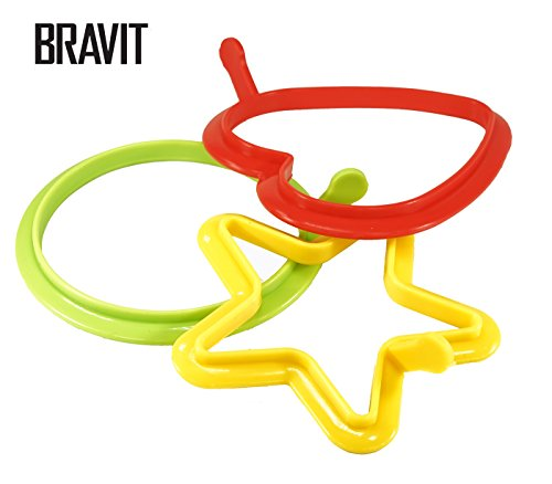 Bravit 3pc Set Silicone Egg Poacher Ring Mold