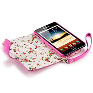 SAMSUNG GALAXY NOTE PREMIUM PU LEATHER WALLET CASE / COVER / POUCH / HOLSTER WITH FLORAL INTERIOR - HOT PINK PART OF THE QUBITS ACCESSORIES RANGE