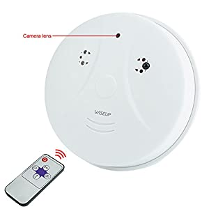 WiseupTM 8GB 1280x720 HD Indoor Hidden Camera Smoke Detector Motion Activated Security DVR with Remote Control