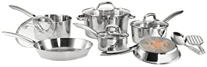 T-fal C798SC Ultimate Stainless Steel Copper-Bottom Heavy Gauge Multi-Layer Base Dishwasher Safe PFOA Free Oven Safe Cookware Set, 12-Piece, Silver
