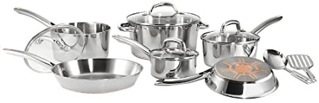 T-fal C798SC64 Ultimate Stainless Steel Copper-Bottom Multi-Layer Base 12-Piece Cookware Set, Silver $78.99