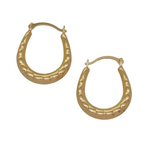 9ct Yellow Gold Small Textured Creole Earrings