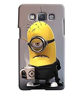 Omnam Minion Drinking Coffee Printed Designer Back Cover Case For Samsung Galaxy E5