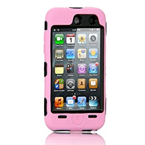 NTK Premium For iTouch iPod Touch 4 4G Silicone Case with Hard Shell Inside Case With Built In Touch Screen Protector Film 2 Layer Case -Pink