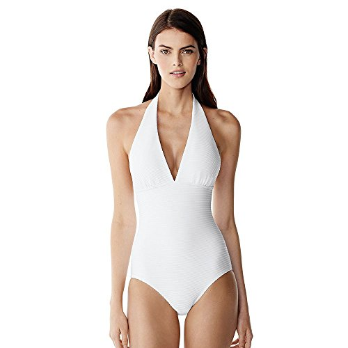 Canvas by Lands' End Women's Texture Halter One Piece Swimsuit, 6, White
