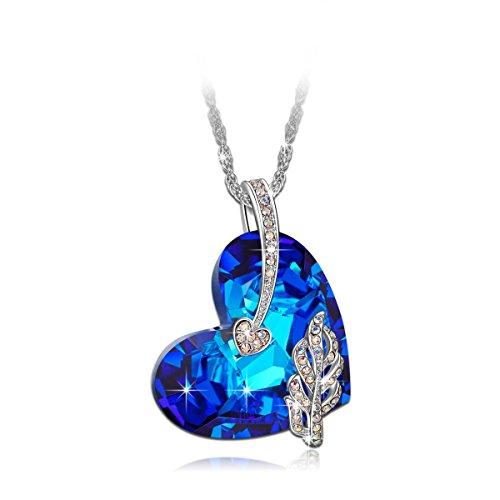 "LadyColour ""Legolas Heart"" Sapphire Swarovski Crystals Heart Pendant Necklace,Women Fashion Jewelry - LadyColour Jewelry"