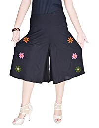 Uttam Enterprises Cotton Printed Emb. Black Color Short Trouser