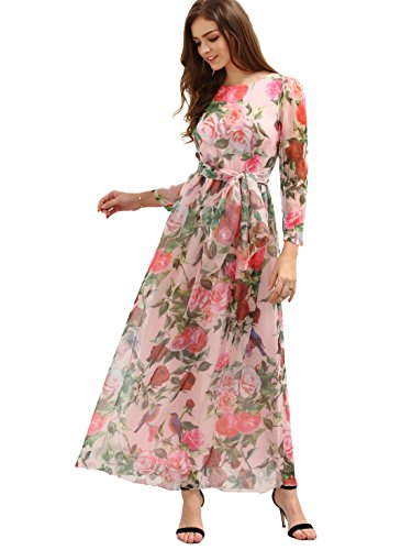 Floerns Women's Long Sleeve Chiffon Rose Print Spring Maxi dress Pink M