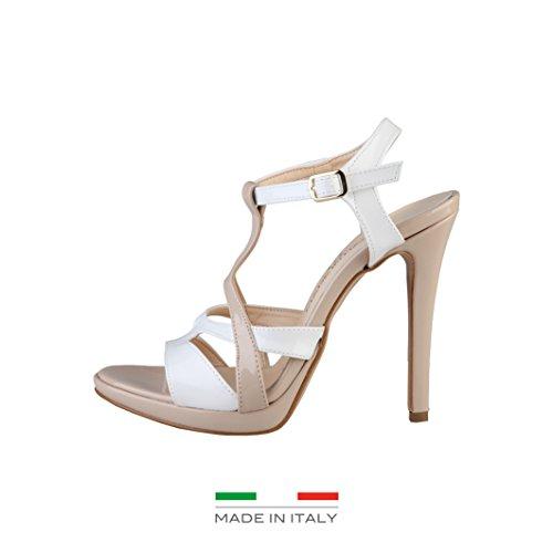 Made In Italia - Iolanda - Sandali tacco alto con cinturino - Donna (40 IT) (Bianco/Biscotto)